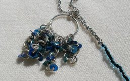 Teal/Silver Repurposed Necklace - Long in Kingwood, Texas